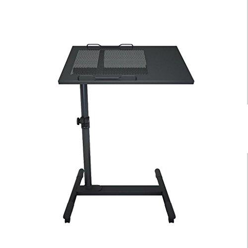 Roestvrij stalen computerbureau mobiele bureaus eenvoudige Thuis nachtkastje slaapkamer kantoor schrijven Notebook roterende tafels (kleur: zwart)