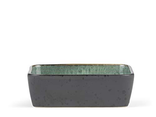 BITZ Auflaufform, Lasagne-Auflaufform aus Steinzeug, rechteckige Ofenform, 19 x 14 x 6 cm, schwarz/grün