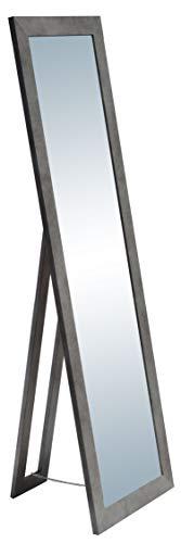 rahmengalerie24 Standspiegel Beton groß Spiegel Ganzkoerperspiegel aus Holz mit Standfuss Ankleidespiegel stehend Stehspiegel 160 cm in 4 Farben Rechteckiger Hochspiegel mit Kunstglass