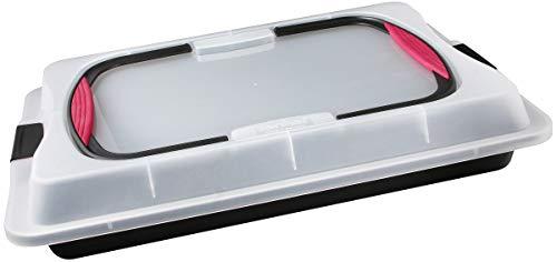 Zenker Blechkuchen-Container to go, Backblech mit Transport-Abdeckung für unterwegs, Backform antihaft mit Deckel und Softgriffen (Kuchenform: ca.425x295x75 mm), Menge: 1 Stück