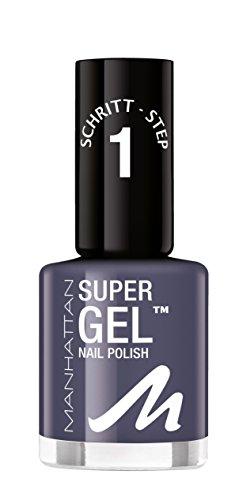 Manhattan Super Gel Nagellack – Gel Maniküre Effekt ganz ohne UV Licht – Dunkelgrauer Nail Polish mit bis zu 14 Tagen Halt – Farbe Gray Matter 925 – 1 x 12ml
