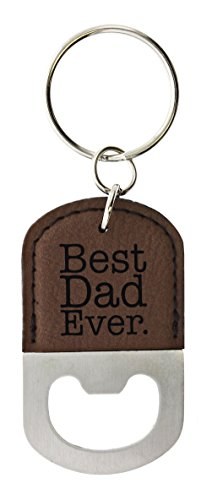 ThisWear for Dad Best Dad Ever Leatherette Bottle Opener Keychain Key Tag Brown