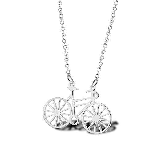 Radfahren Halskette Campus literarischen Zubehör Titan Stahl vergoldet Fahrrad Damen Schlüsselbein KetteSilber