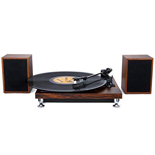 Tocadiscos Bluetooth con 2 Altavoz Externo, Tocadiscos de Vinilo de Estilo Vintage...