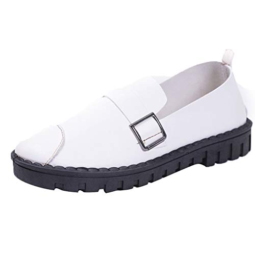 Kimanli Women 's Shoes Middle-Aged and Elderly Peas Shoes Work Shoes Metal Buckle Walking Casual Shoes White