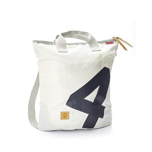 360° Ketsch Rucksack aus Segeltuch mit Schultergurt, Recycling Seesack Shopper Bag, Schultertasche Hobo Bag für Shopping und Strand, Rucksack weiß, Zahl grau