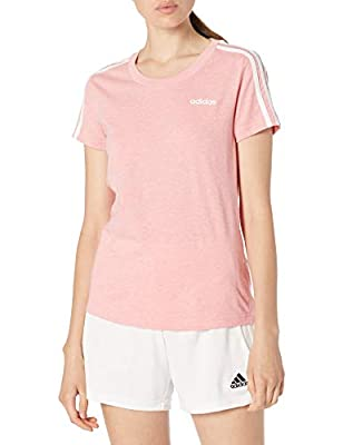 adidas Women's Essentials 3-Stripes Slim Tee Glory Pink/White Small