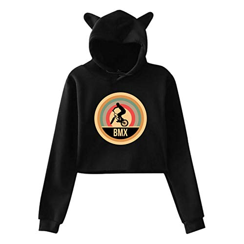 Actuallyhome Retro Vintage BMX Verano Otoño Invierno Fleece Sweatershirt Ropa Deportiva para Mujer Cat Ear Hoodie Kawaii Clothing Streetwear