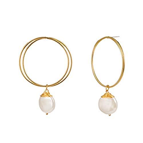 yichahu Pendientes de moda de oro doble anillo de perlas de las mujeres pendientes adornos de Navidad