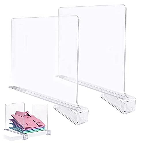 Fmlkic 2 separadores de estantes de acrílico transparente, sujetalibros para estanterías, armarios multifuncionales, separadores de estantes y separadores de armario para armarios de madera
