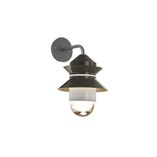 Lámpara de Pared E27 8-15W con difusor de Cristal soplado y prensado, Modelo Santorini Aplique, Color Gris, 28,7 x 28,7 x 36,9 centímetros (Referencia: A654-024)