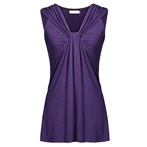 Blusa Mujer Sexy con Cuello V Sin Mangas Color Sólido Mujer Shirt Verano Delgado Elegante Moda Exquisitamente Larga Camisa Mujer Cita Trabajo Casual Mujer Tops C-Purple XL