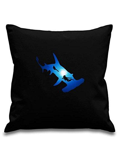 Blue Ray T-Shirts Hammerhead Shark & divers- Tauchen–Schwarz Leinwand 8oz Kissenbezug, 45x 45cm, quadratisch, verdeckter Reißverschluss