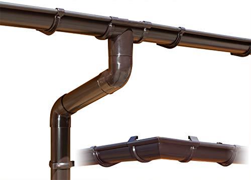 Dachrinnen/Regenrinnen Set | viereckiges Dach (4 Seiten) | GD16 | in anthrazit, weiß, braun oder grau! (Umriss bis 17.50 m (Kompl. Set), Braun)