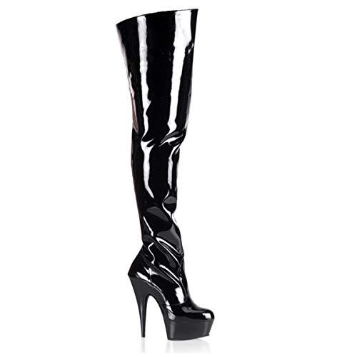 Higher-Heels PleaserUSA Overknee-Stiefel Delight-3010 Lack schw./schw. 37