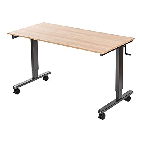 Stand Up Desk Store Crank Adjustable Height Rolling Standing Desk (Charcoal Frame/Natural Walnut Top, 60' Wide)