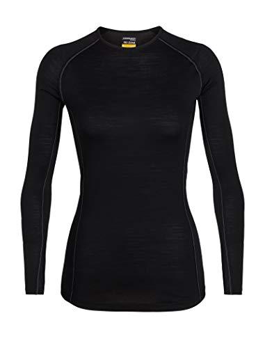 Icebreaker Merino Women's 150 Zone Long Sleeve Crew Neck Shirt, Black/Mineral, Medium