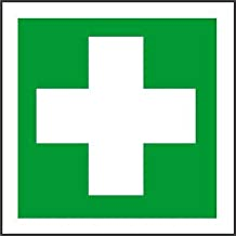 Yilooom Sticker Decal First Aid Symbol 10 x 10cm Warning Safety Green Cross