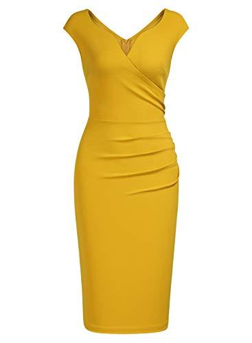 Vestido amarillo mostaza ajustado de fiesta
