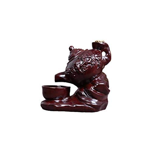 DAGONGREN Quemador de Incienso de Madera de ébano-Tetera Volver Quemador de Incienso Decoración Creativa Inicio Caoba Ceremonia del té Cubierta Quemador de Incienso de sándalo