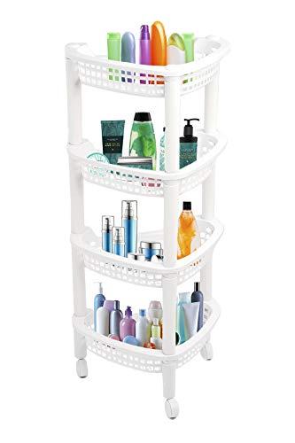 ADEPTNA Duschregal, Eckregal, rostfrei, weiß, Küche, Badezimmer, Aufbewahrungseinheit, 4 Ebenen, freistehend (4 Etagen mit Rädern, weiß)