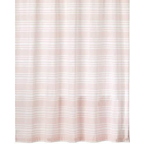 mDesign Duschvorhang aus 100prozent Baumwolle – gestreifte Duschgardine für Dusche & Badewanne mit 183 cm x 183 cm – langlebiges Badzubehör mit verstärkten Löchern – rosafarben