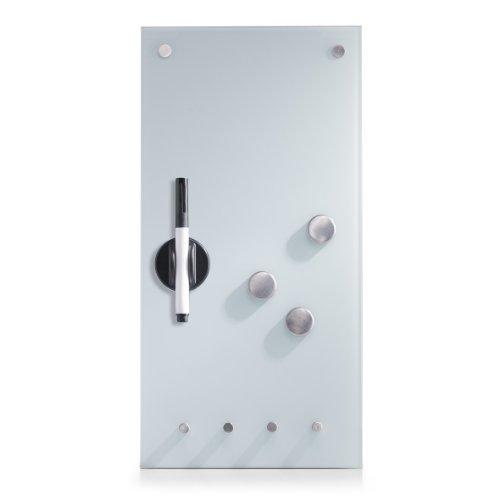 Zeller 11610 Memobord m. Haken, Glas, weiß, ca. 20 x 40 x 4 cm