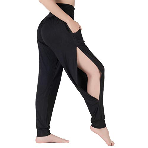 LOFBAZ Pantalones deportivos de yoga con hendidura sutil con bolsillos para entrenamiento, pantalones harén - negro - Medium
