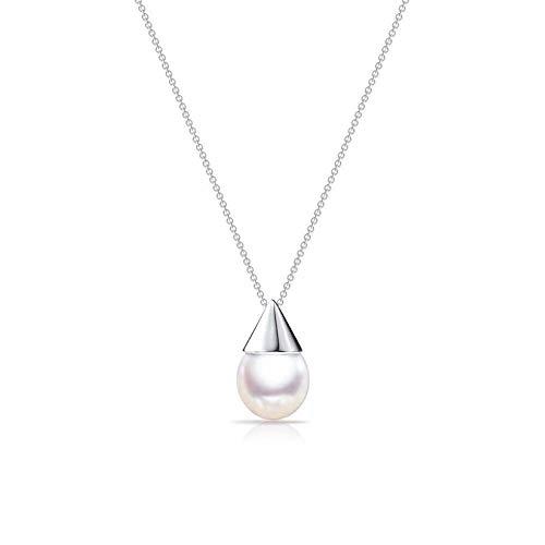 XIMAO - Collana con perle naturali e ciondolo a forma di piccola lampadina a forma di conchiglia, Oro bianco