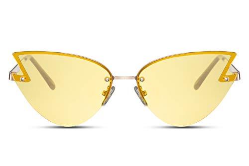 Cheapass Gafas de Sol Trueno Alocadas Festival Fiesta Gafas de sol Amarillas Translúcido Lentes Protección UV400 Hombres Mujeres