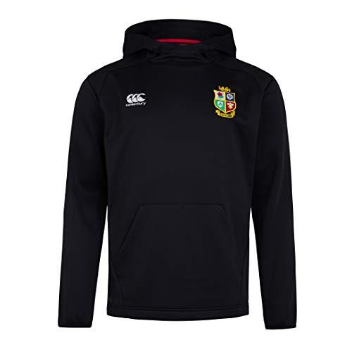 Canterbury of New Zealand British And Irish Lions Rugby - Felpa con Cappuccio Thermoreg da Uomo, Uomo, Pile Uomo, 5054773326824, Nero , S
