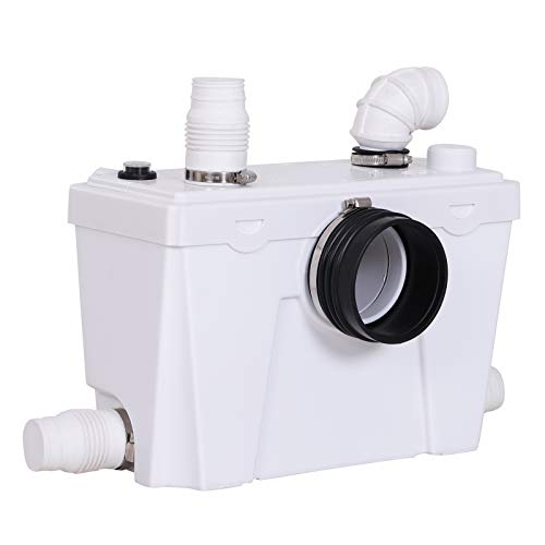 HOMCOM Bomba Trituradora Sanitaria de Agua Residual con 400W y 4 Entradas para Baño Cocina y Lavabo 40x17x28 cm