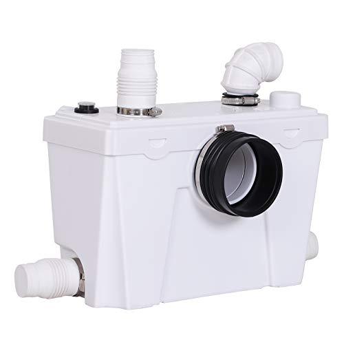 HOMCOM Bomba Trituradora Sanitaria de Agua Residual con 400W y 4 Entradas para Baño Cocina y Lavabo 45x21.5x29cm