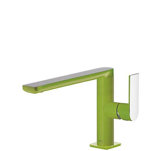 Monomando lavabo Loft Colors con caño de 35x15 milímetros con giro 360 grados, maneta, 18 x 10 x 17 centímetros, color verde cromo (Referencia: 20020501VE)