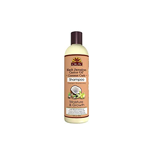 Okay Black Jamaican Castor Oil Coconut Curls Shampoo Helps Condition,Strengthen,and Regrow Hair Sulfate,Silicone,Paraben Free For All Hair Types and Textures Made in USA 12oz