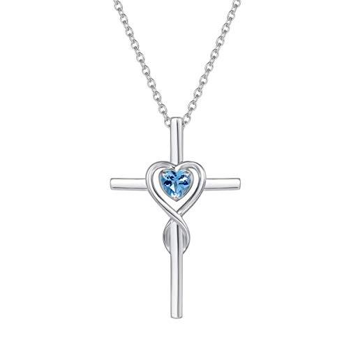 Damen Halskette mit Unendlichkeit Symbol Kreuz Anhänger Kette Infinity aus 925 Sterling Silber mit Natürlicher Blau Topas Edelstein Herz Form November Geburtsstein - Verstellbar Kettenlänge: 40 + 5 cm