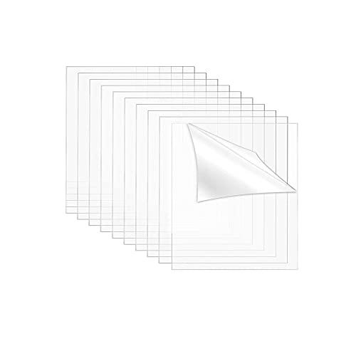 SUQ 10 Hojas de Acrílico Transparente, 2mm de Grosor 15 * 15cm Plexiglás Transparente con Película Protectora para Marcos de Fotos, Vidrio de Reemplazo Letreros, Proyectos Exhibición, Manualid