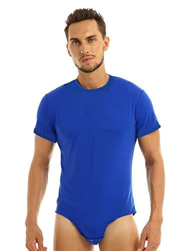 MSemis Herren Body Kurzarm Hemdbody Baumwolle Bodysuit Overall Männer Unterhemd Poloshirt Slim Fit Unterwäsche M-2XL V Blau Rundals Large