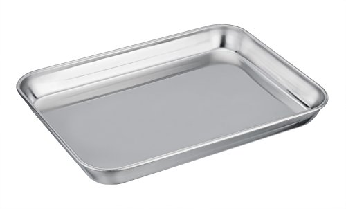 TeamFar Pure Stainless Steel Toaster Oven Pan Tray Ovenware, 7''x9''x1'', Heavy Duty & Healthy, Mirror Finish & Easy clean, Deep Edge, Dishwasher Safe (18/0 Steel)