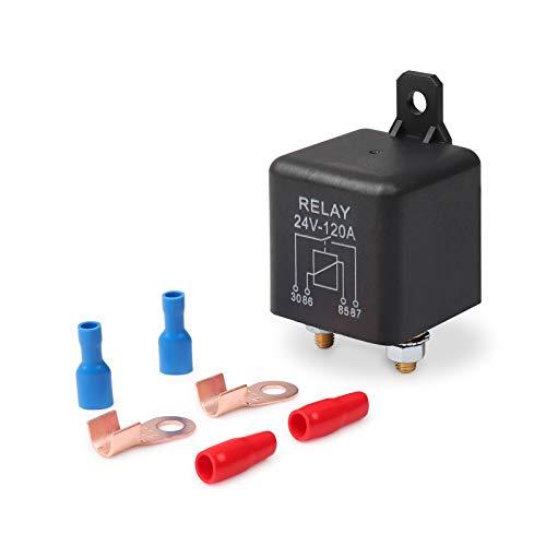 Ehdis 24V 120A 4 Pin Auto Relay Black Box Batterie für Automobile Heavy Vehicle-LKW Bagger Van Boot + 2 Pin-Abdruck + 2 Klemme [1 Satz]