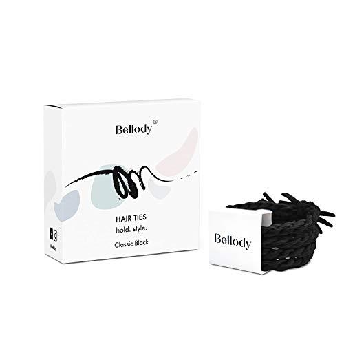 Bellody® Original Haargummis - Stylisch geflochtene Haargummis mit starkem Halt (4 Stück - Classic Black)