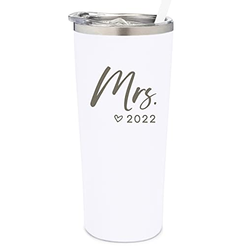 SassyCups Mrs. Tumbler Cup   The Mrs. Est. 2022 Engraved Stainless Steel Vacuum Insulated For Bride Tumbler with Straw   Bride Water Bottle   Bride 2022   Bridal Shower   Bride to Be (22 Ounce  White)