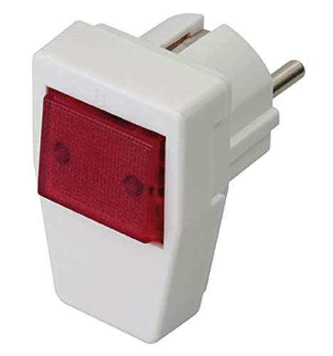 Kalthoff Winkelstecker weiß mit rot beleuchtetem Schalter 16A 250V schaltbar beleuchtet
