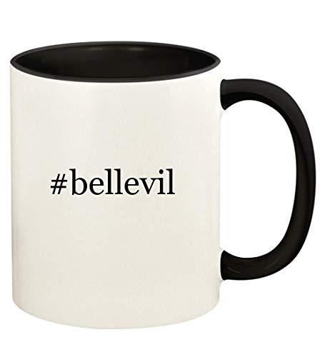 #bellevil - 11oz Hashtag Ceramic Colored Handle and Inside Coffee Mug Cup, Black