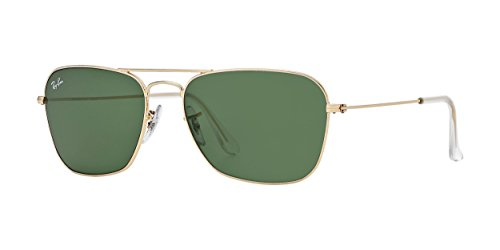 Ray Ban Unisex RB 3136 golden - Green Mineralglas Sonnenbrille lenses 55 mm