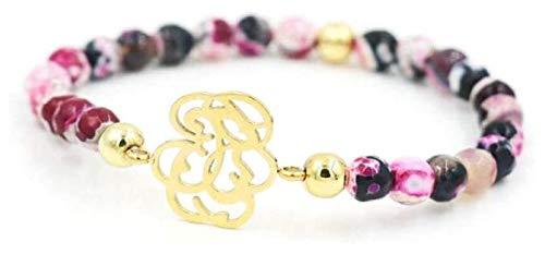 HAOKTSB Pulsera de Piedra Mujer, 7 Chakra 16 cm Perlas de Piedra Natural Rosa semiprecioso Brazalete elástico Dorado joyería Hueca de Oro Yoga Difusor de Encanto Pulsera de Piedra