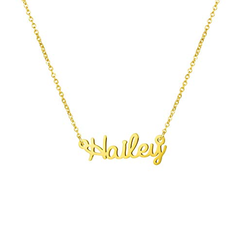 Awegift Personalized Name Necklace 18K Gold Plated New Mom Bridesmaid Gift Jewelry for Women (Hailey)