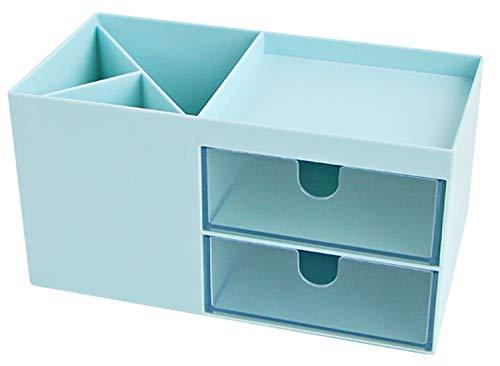 DMFSHI Portalápices con Cajón, Escritorio Pluma Lápiz Soporte Soporte Almacenamiento Olla Contenedor Caja de Papelería Organizador para la Escuela Oficina Hogar (17.2 * 8.7 * 9.2cm,azul)