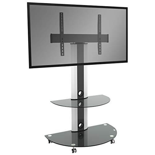 RICOO LCD TV Ständer FS0502 Standfuss Glas Standfuß Fernsehstand LED Fernseher Stand Halterung Schwenkbar Drehbar mit Rollen Möbel Rack max. VESA 400x400 Universal inkl. DVD Receiver Glas Regal Ablage
