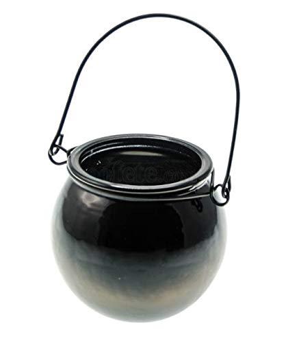 Chaks 90520, LOT de 12 grands bougeoirs Chaudron, Noir 13 cm